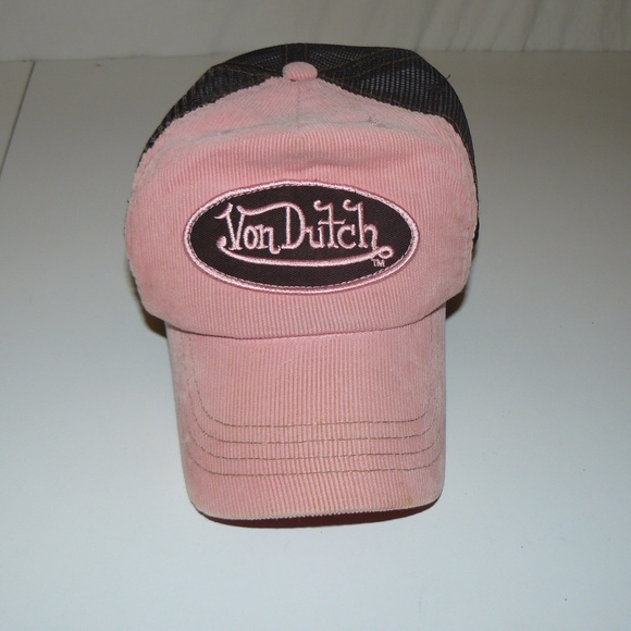 Von Dutch Pink and Brown Trucker Hat One Size. M 5aab502600450ff1c8d3d764 301228b5ca65
